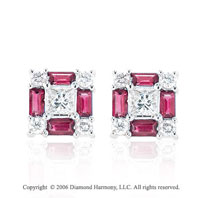 14k White Gold Baguette Ruby Diamond Stud Earrings