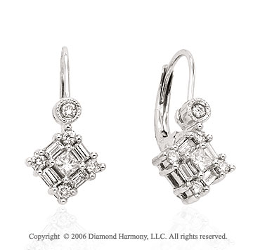 14k White Gold Princess Drop 1/2 Carat Diamond Earrings