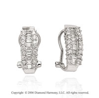 14k White Gold Omega Back Huggie 1.00Carat Diamond Earrings