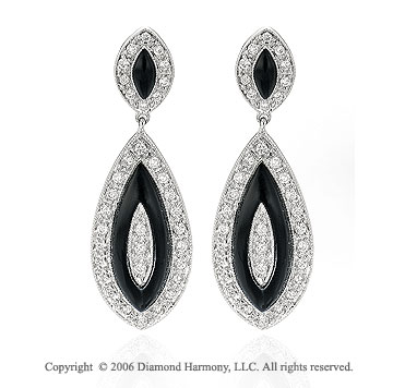 14k White Gold Round Prong Drop Onyx Diamond Earrings