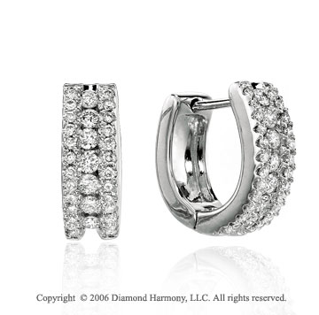 14k White Gold Prong Huggie 3/5 Carat Diamond Earrings