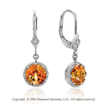 14k White Gold Round Citrine Drop Diamond Earrings