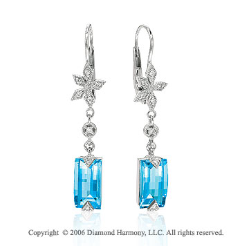 14k White Gold Baguette Blue Topaz Drop Diamond Earrings