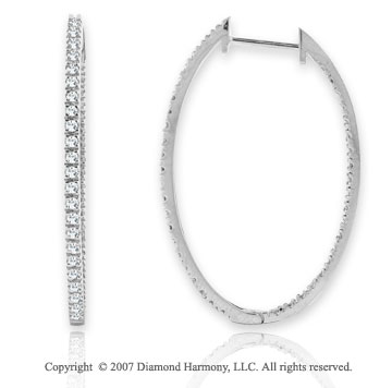 14k White Gold Oval 1.10 Carat Diamond 1 1/2^ Hoop Earrings