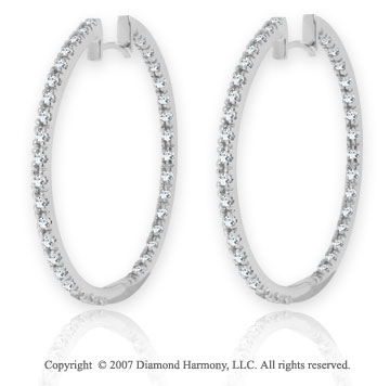 14k White Gold 1.00 Carat Diamond 1 3/8^ Hoop Earrings