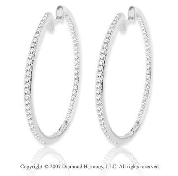 14k White Gold 1 2/3 Carat Diamond 1 5/8^ Hoop Earrings