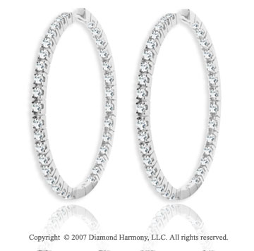 14k White Gold 3 2/5 Carat Diamond 1 7/8^ Hoop Earrings