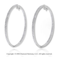 14k White Gold  1.65 Carat Diamond 1 � ^ Hoop Earrings