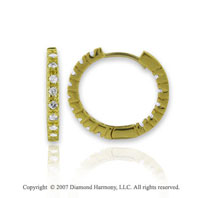 14k Yellow Gold 1/2 Carat Diamond 3/4^ Hoop Earrings