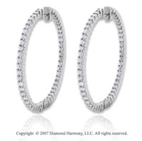14k White Gold 3.10 Carat Diamond 1 3/4^ Hoop Earrings