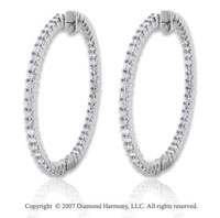 14k White Gold 4.00 Carat Diamond 1 3/4 Inch Hoop Earrings