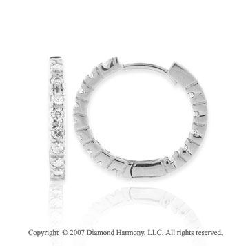 "14k White Gold .50 Carat Diamond 3/4"" Hoop Earrings"