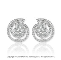14k White Gold Twirl 1.45 Carat Diamond Button Earrings