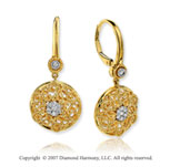 14k Yellow Gold Filigree 0.20 Carat Diamond Drop Earrings
