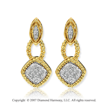 14k Yellow Gold Elegance 0.30 Carat Diamond Drop Earrings
