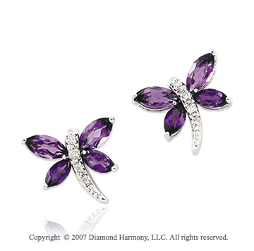14k White Gold Dragonfly Amethyst Diamond Earrings
