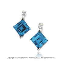 14k White Gold Swiss Blue Topaz Diamond Drop Earrings