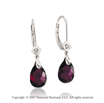 14k White Gold Rhodolite Drop Style Diamond Earrings