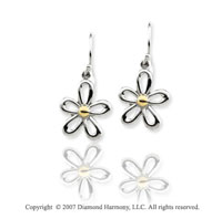 14k Two Tone Gold Floral Filigree Design Drop Earrings