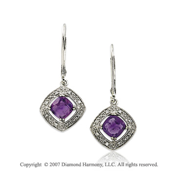 14k White Gold Antique Amethyst Diamond Drop Earrings