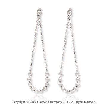14k White Gold Elegant Push Back Drop Style Earrings