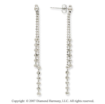 14k White Gold Fashionable 39 57mm Drop Style Earrings