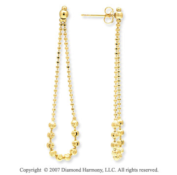 14k Yellow Gold Push Back 50mm Drop Style Earrings