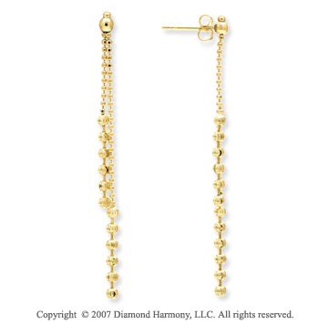 14k Yellow Gold Push Back 39 57mm Drop Style Earrings