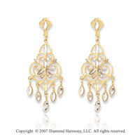 14k Yellow Gold 41mm Fashionable Chandelier Earrings