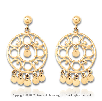 14k Yellow Gold 33mm Grand Fashion Chandelier Earrings