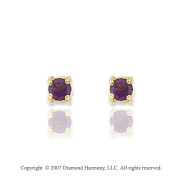 14k Yellow Gold Prong Amethyst Birthstone Stud Earrings