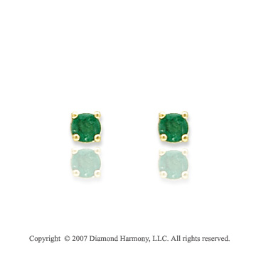 14k Yellow Gold Prong Emerald Birthstone Stud Earrings