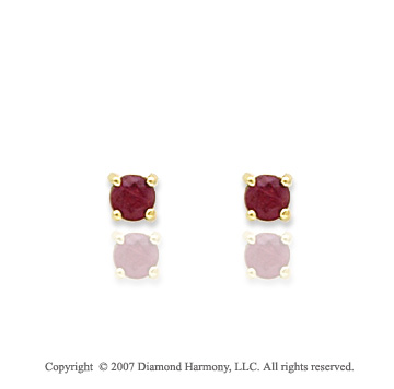 14k Yellow Gold Prong Ruby Birthstone Stud Earrings