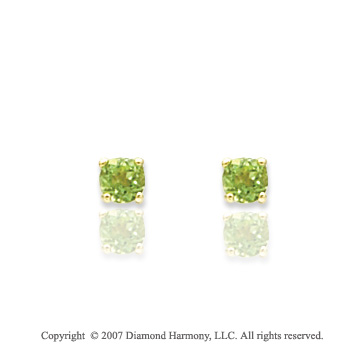 14k Yellow Gold Round Peridot Birthstone Stud Earrings