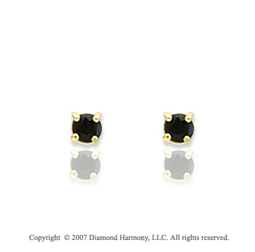 14k Yellow Gold Round Blue Sapphire Birthstone Stud Earrings