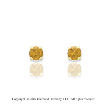 14k Yellow Gold Round Citrine Birthstone Stud Earrings