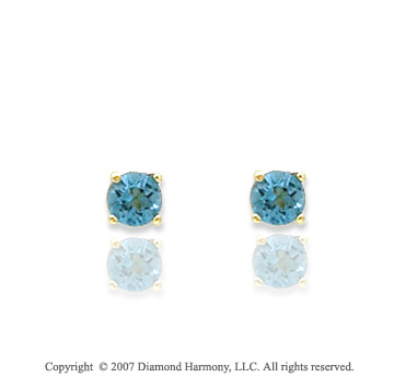 14k Yellow Goldold Round Blue Topaz Birthstone Stud Earrings