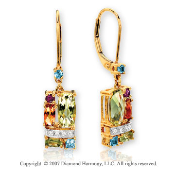 14k Yellow Gold Grand Multi Gem Diamond Drop Earrings