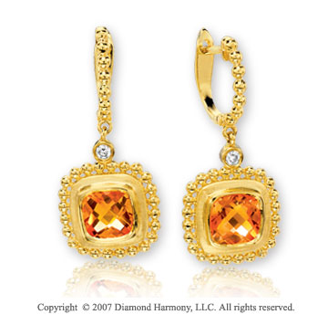 14k Yellow Gold Elegant Citrine Diamond Drop Earrings
