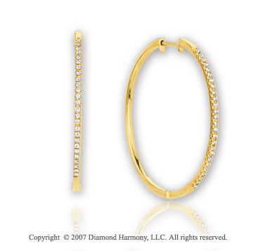14k Yellow Gold Slim 1/3 Carat Diamond Hoop Earrings
