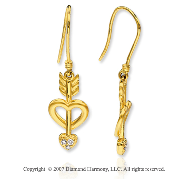 14k Yellow Gold Diamond Heart N Arrow Hook Earrings