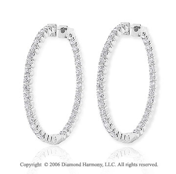 14k White Gold 10g Prong 2 1/3  Carat Diamond Hoop Earrings