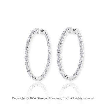 14k White Gold 5.5g Prong 1 Carat Diamond Hoop Earrings