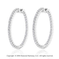 14k White Gold 8g Prong 2.00  Carat Diamond Hoop Earrings