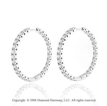14k White Gold 7g Prong 2.00  Carat Diamond Hoop Earrings