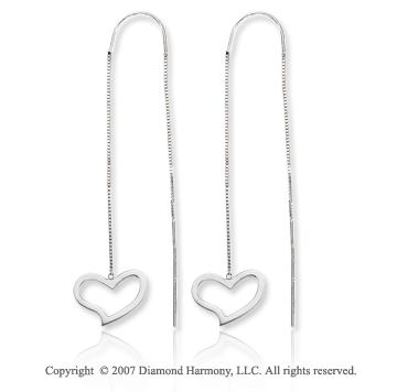 14k White Gold Double Heart Charm Threader Drop Earrings