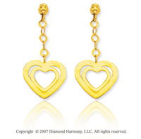 14k Yellow Gold Hearts 17mm Push Back Drop Earrings