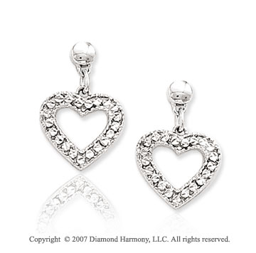 14k White Gold Pave Cut Heart Push Back Drop Earrings