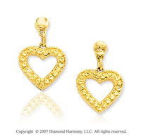 14k Yellow Gold Pave Cut Heart Push Back Drop Earrings