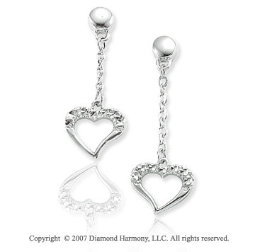 14k White Gold Pave Cut Hanging Heart Drop Earring